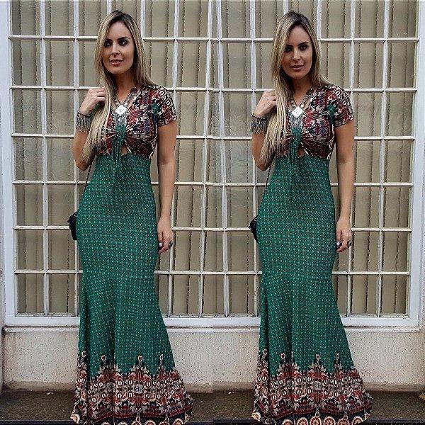 Vestido longo sereia verde com estampa divina
