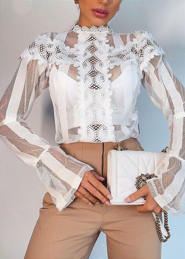 Body camisa manga longa mega elegante na cor branca com transparência