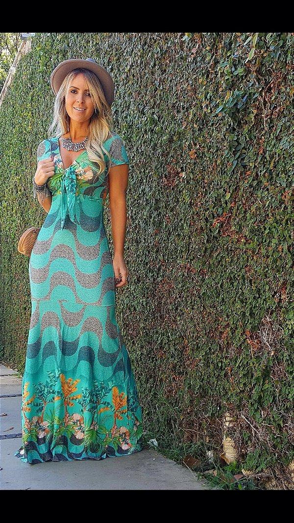 Vestido longo sereia em tons verdes e estampa divina copacabana