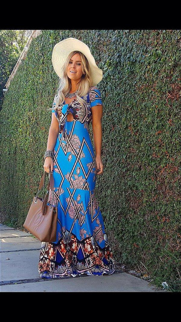 Vestido longo sereia azul com estampa super verão