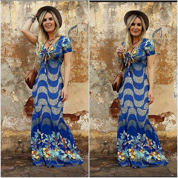 Vestido longo sereia deslumbrante em tons de azul