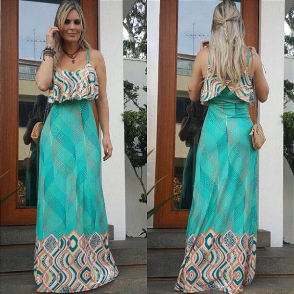 Vestido longo cor predominante verde com estampa simplesmente maravilhosa. Linda demais