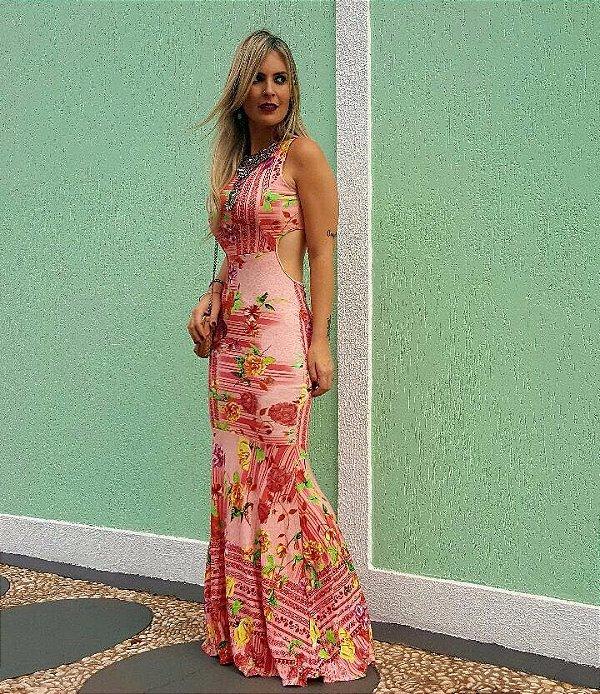 Vestido sereia rosê  com estampa floral divina