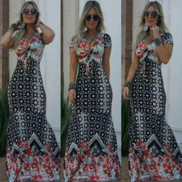 Vestido sereia com estampa floral divina