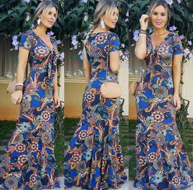 Vestido sereia com estampa maravilhosa em tons de azul (TAMANHO PLUS SIZE - VESTE DO 42 AO 46)