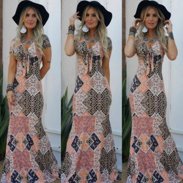Vestido longo estampa patche diva