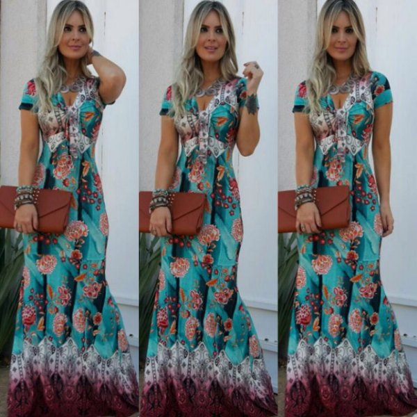 Vestido longo estampa green flower