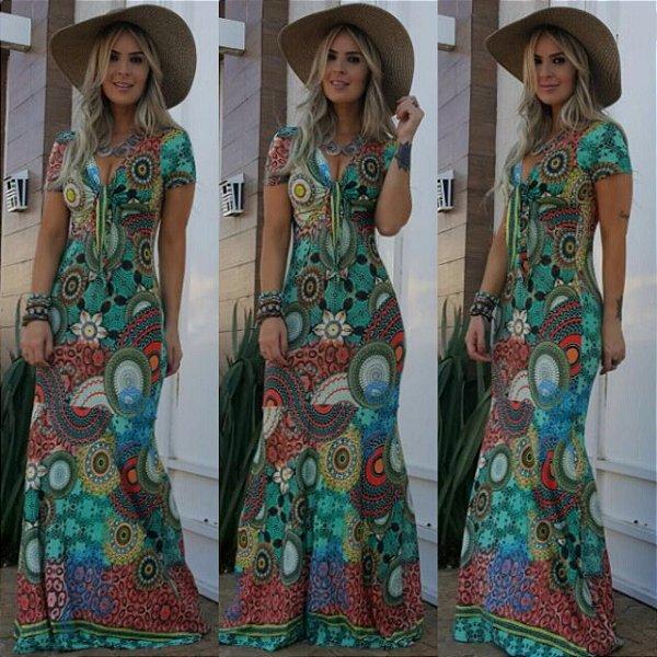 Vestido longo sereia com estampa disco (PLUS SIZE - veste do 42 ao 46)