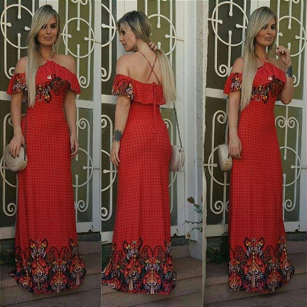 Vestido longo sereia vermelho com estampa maravilhosa  e  alcinha cruzada nas costas