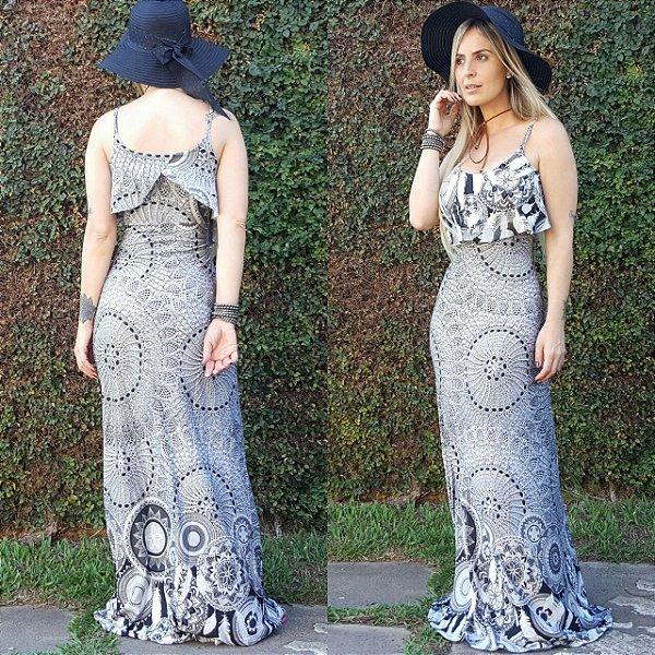 Vestido longo sereia com estampa mandala gray