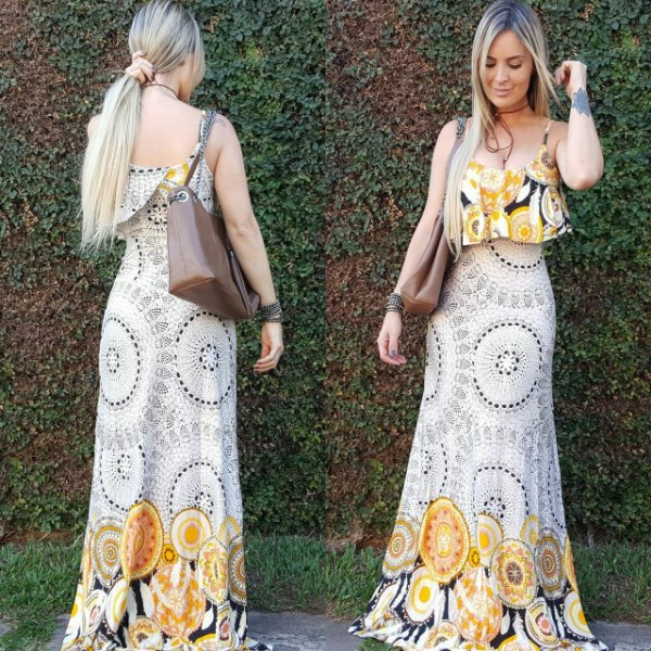 Vestido longo sereia com estampa mandala yellow