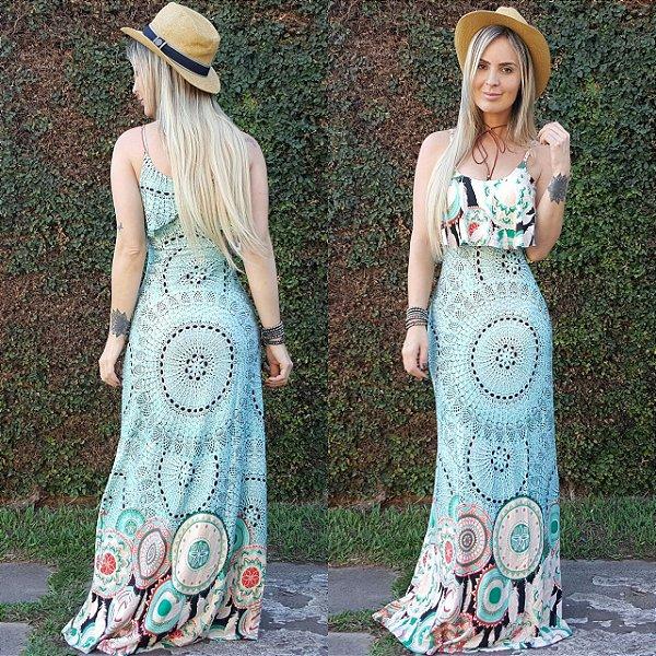 Vestido longo sereia com estampa mandala green