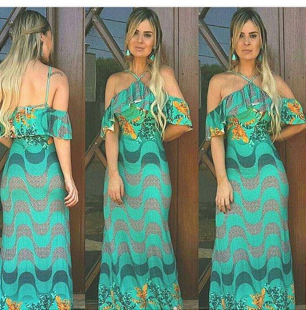 Vestido longo sereia estampa copacabana green