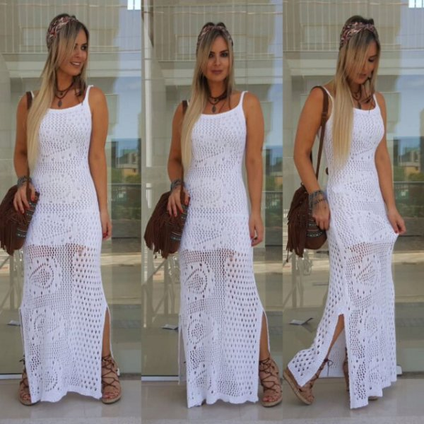 Vestido longo branco em tricot . Deslumbrante