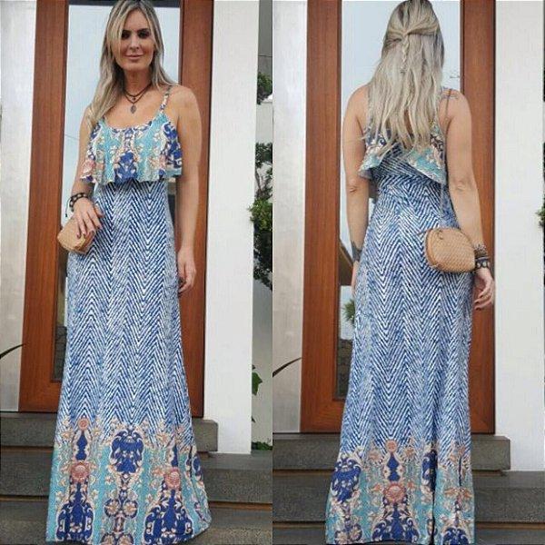 Vestido longo estampado em azul e branco  . Lindo de viver :)