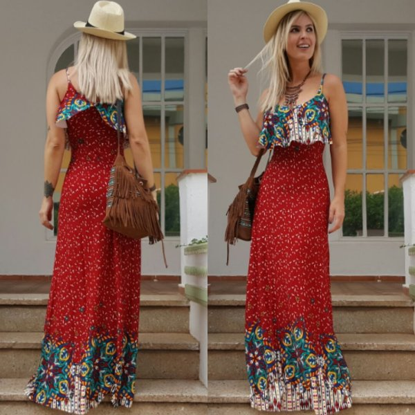 Vestido longo estampado red flower