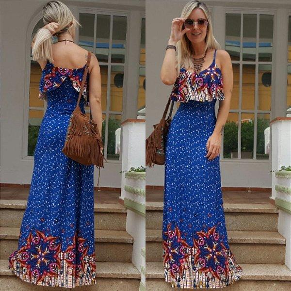 Vestido longo estampado blue flower