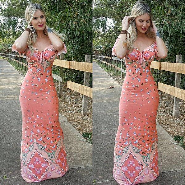 Vestido longo com estampa de borboletas . Uma graça :)