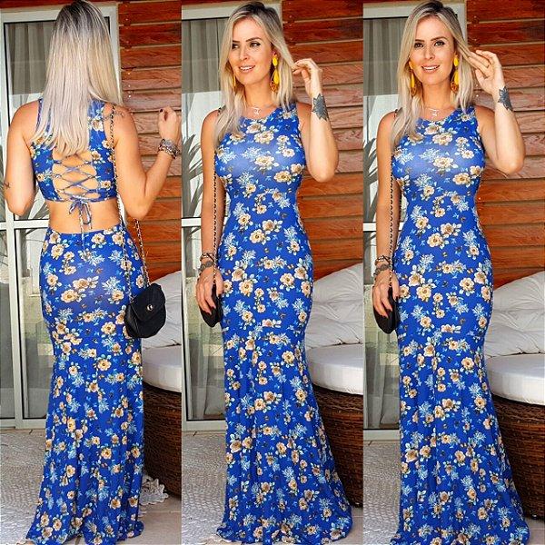 Vestido longo blue flower