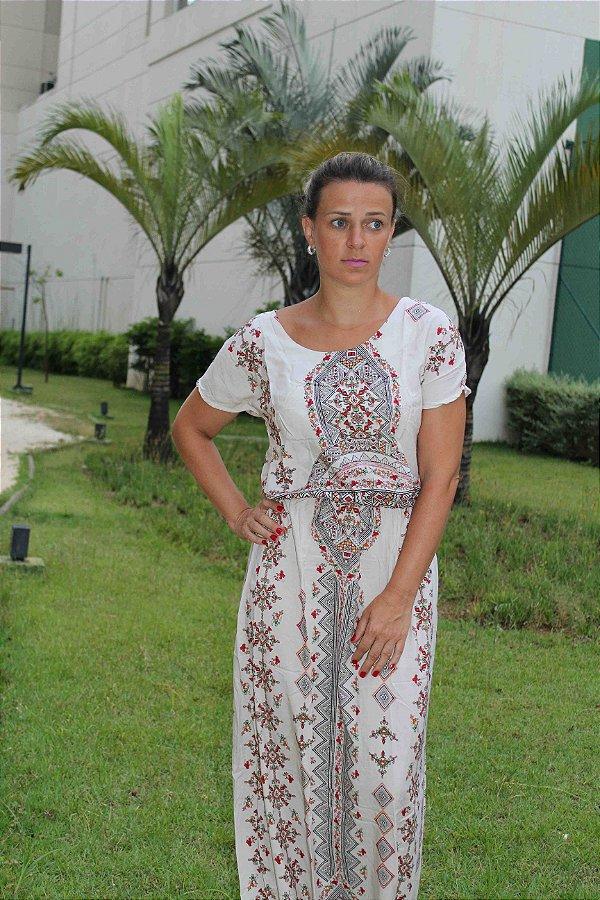 Vestido longo com estampa indian gree