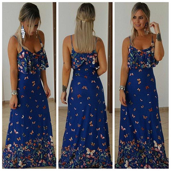 Vestido longo babado com estampa em borboletinhas azuis