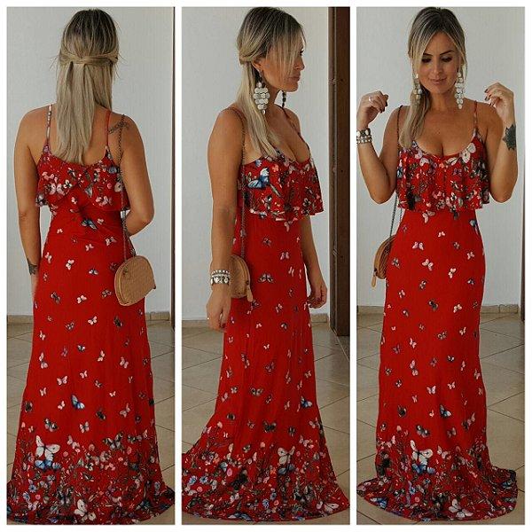 Vestido longo babado com estampa vermelha divina