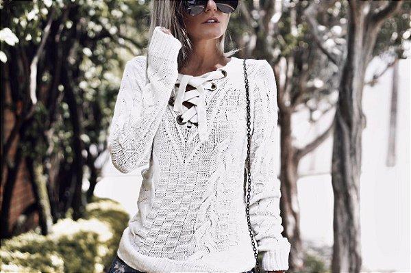 Blusa em tricot offwhite diva