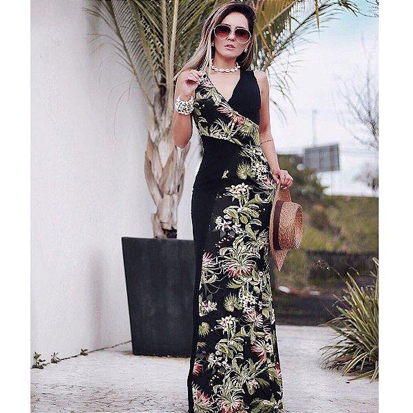 Vestido faixa com estampa floral