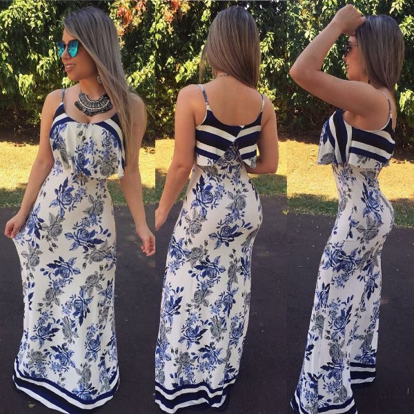 Vestido longo com babadinho cor azul