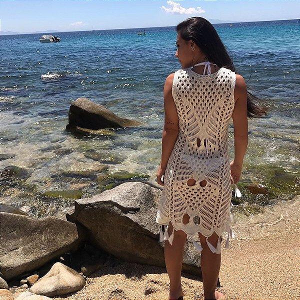 Maxi colete saída de praia offwhite