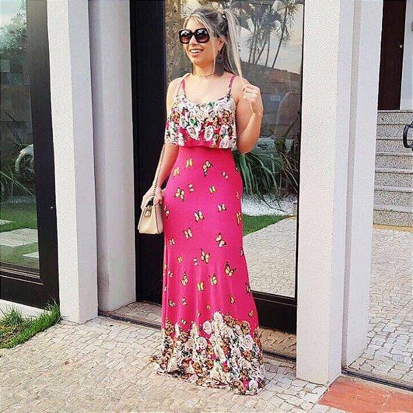 Vestido longo pink estampa borboleta