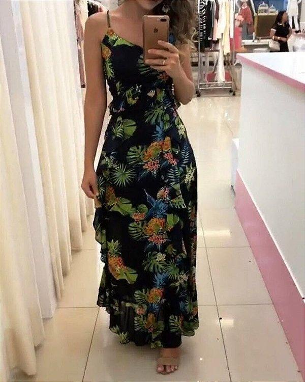 Vestido floral com detalhes de babadinho black