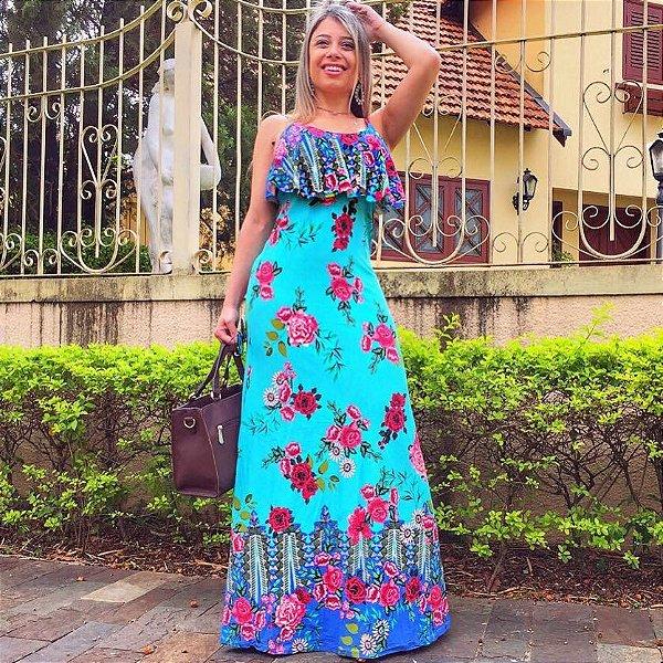 Vestido ciano com estampa de rosas