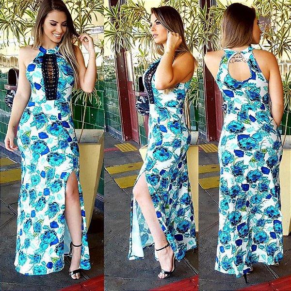 Vestido longo com fenda blue