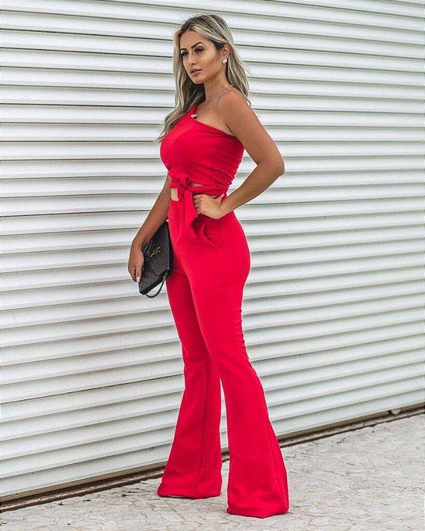 Conjunto blusa ombro só e calça flare red