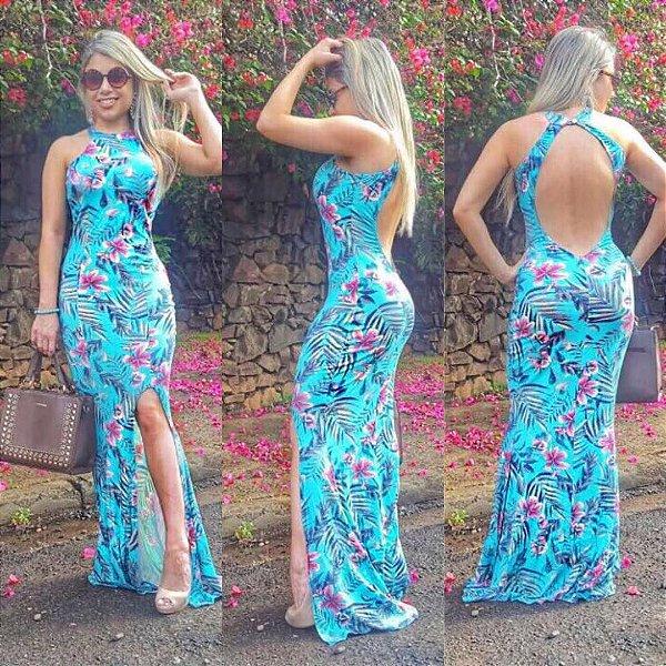 Vestido longo azul com decote costas