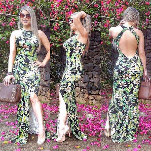 Vestido longo verde com decote costas