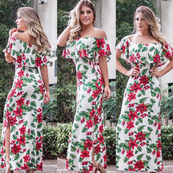 Vestido ciganinha estampa floral red & white