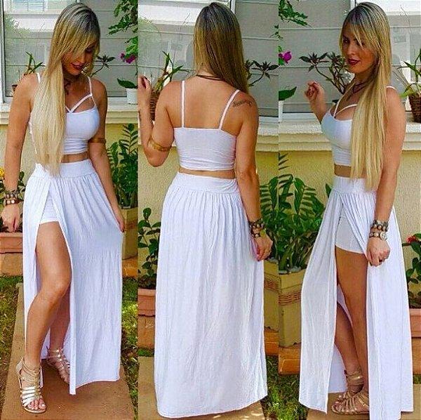Conjunto top e saia short longa white