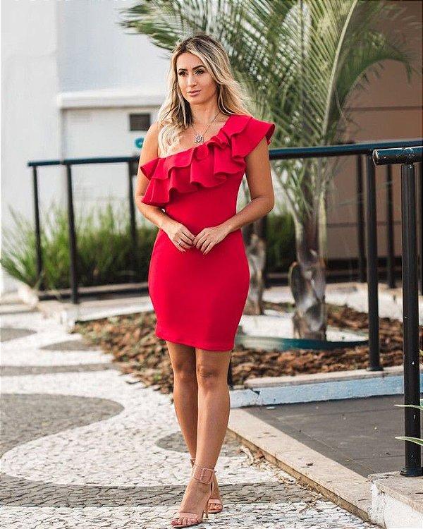 Vestido em crepe red ombro só