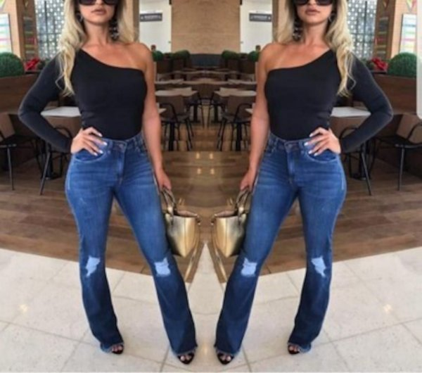 Calça flare destroyed jeans azul