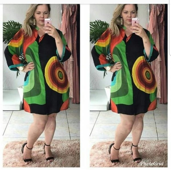 Vestido plus size estampa maravilhosa