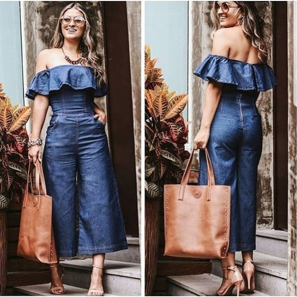 Macacão jeans pantacourt