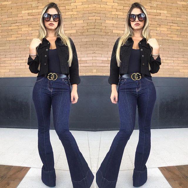 Calça jeans flare nervura com barra italiana