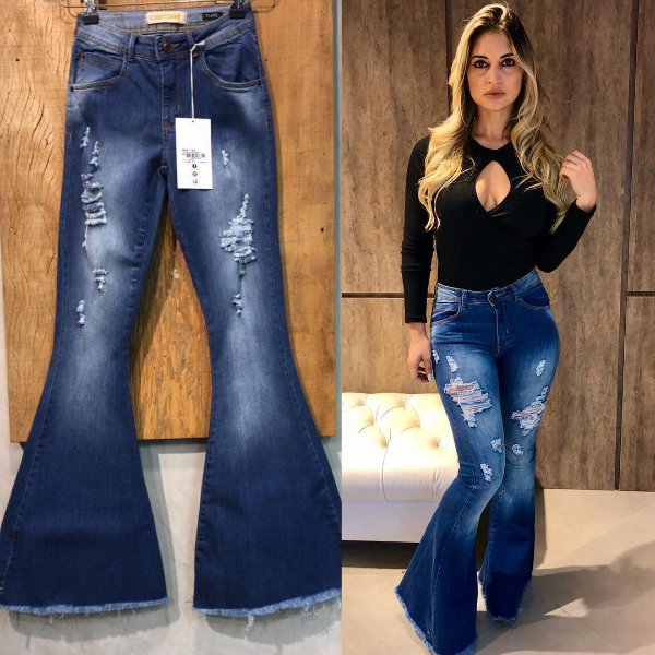 Calça jeans maxi flare destroyed
