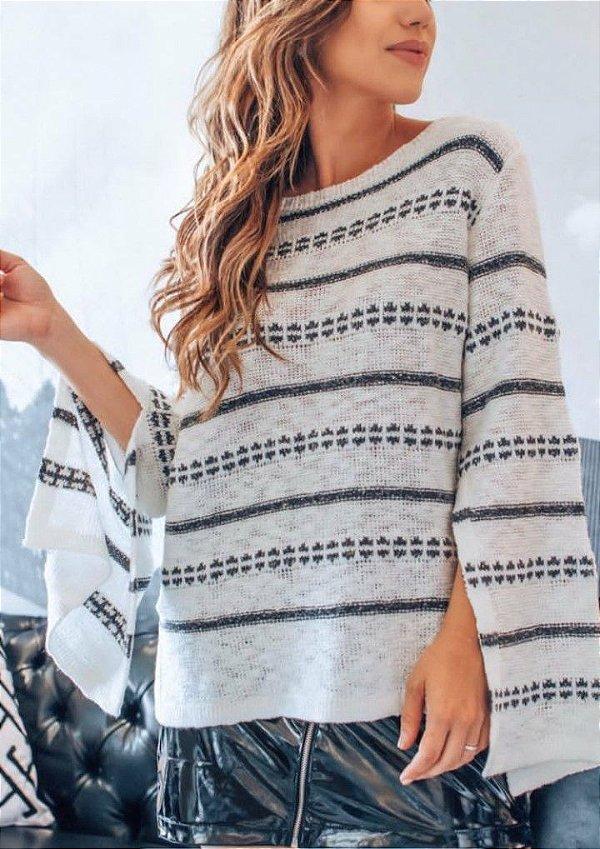 Suéter manga flare de tricot flame