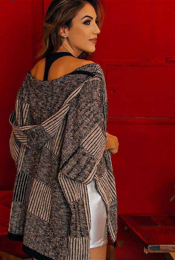 Kimono tricot com capuz