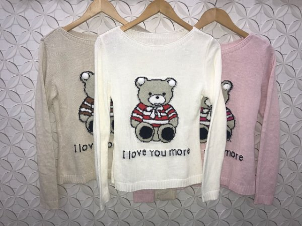 Suéter tricot ursinho - Branco