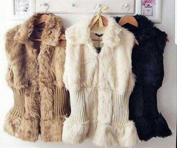 Colete acinturado pêlinho e tricot - Cor capuccino