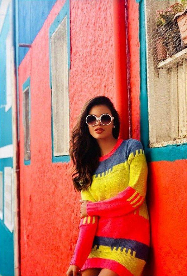 Mini vestido tricot color